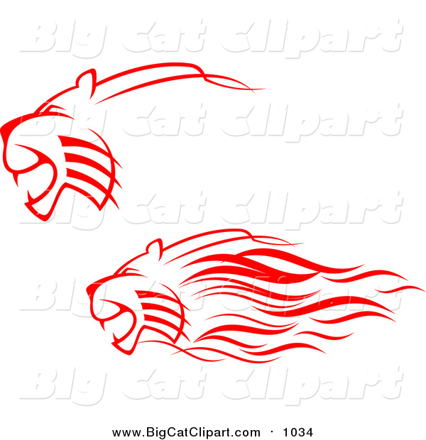 Big Cat Vector Clipart of Red Lions Charging