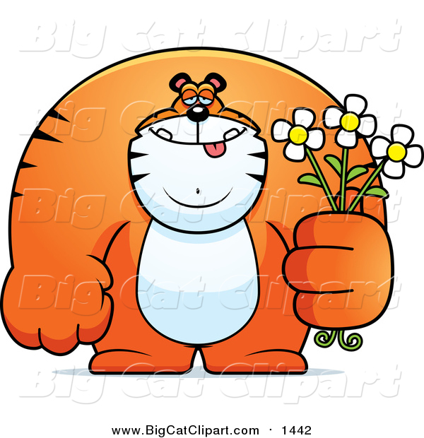 Cartoon Vector Clipart of a Gentle Big Tiger Posing with Flowers - Cartoon Style