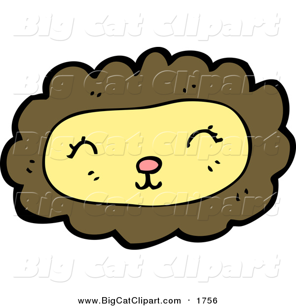 Cartoon Vector Clipart of a Happy Lion Face