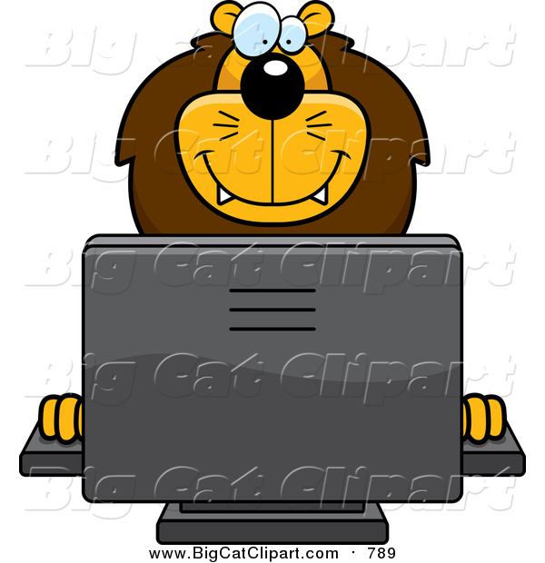 Cartoon Vector Clipart of a Happy Male Lion Using a Desktop Computer