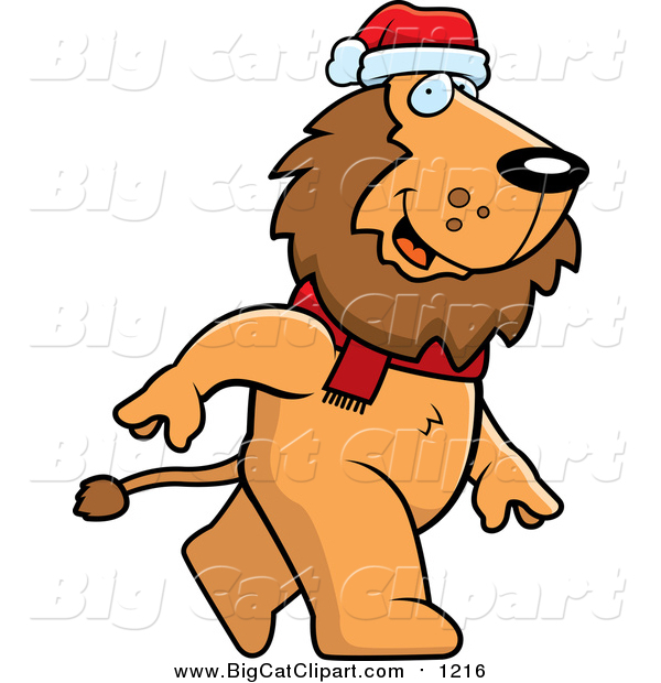 Cartoon Vector Clipart of a Lion Wearing Santa Hat