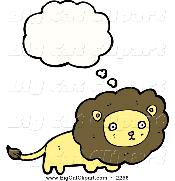 Cartoon Vector Clipart of a Lion with a Thought Bubble