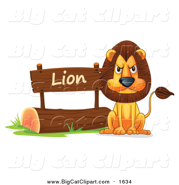 Cartoon Vector Clipart of a Mad Lion in a Zoo - Cartoon Style