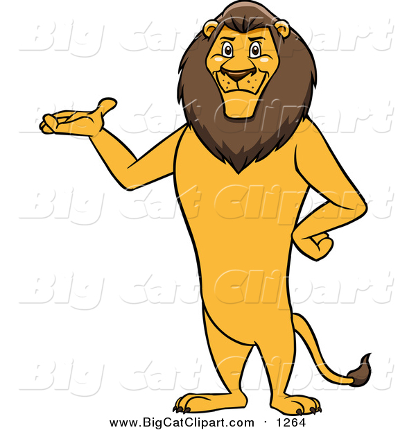 Cartoon Vector Clipart of a Male Lion Presenting and Standing Upright