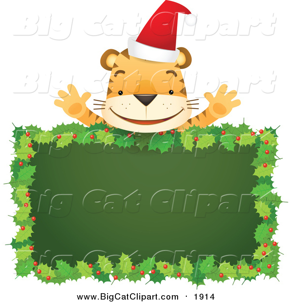 Cartoon Vector Clipart of a Santa Tiger Above Blank Holly Sign