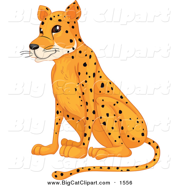 Cartoon Vector Clipart of a Sitting Cheetah
