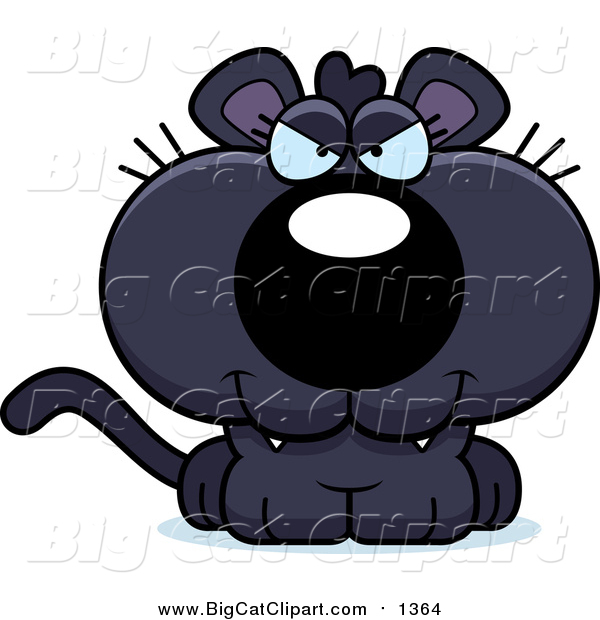 Cartoon Vector Clipart of a Sly Panther Cub