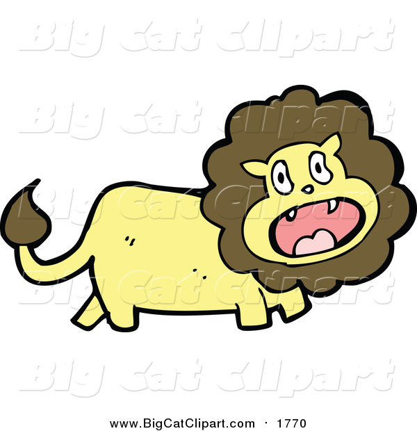 Cartoon Vector Clipart of a Wild Male Lion Screaming