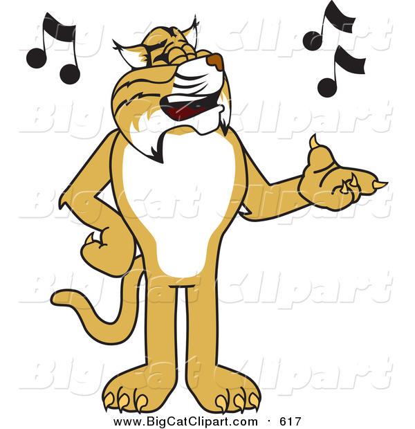Vector Clipart of a Bobcat Mascot Character Singing
