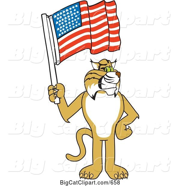 Vector Clipart of a Cartoon Bobcat Character Holding a Flag