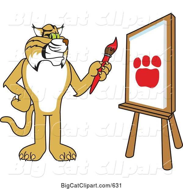 Vector Clipart of a Cartoon Bobcat Character Painting a Paw Print