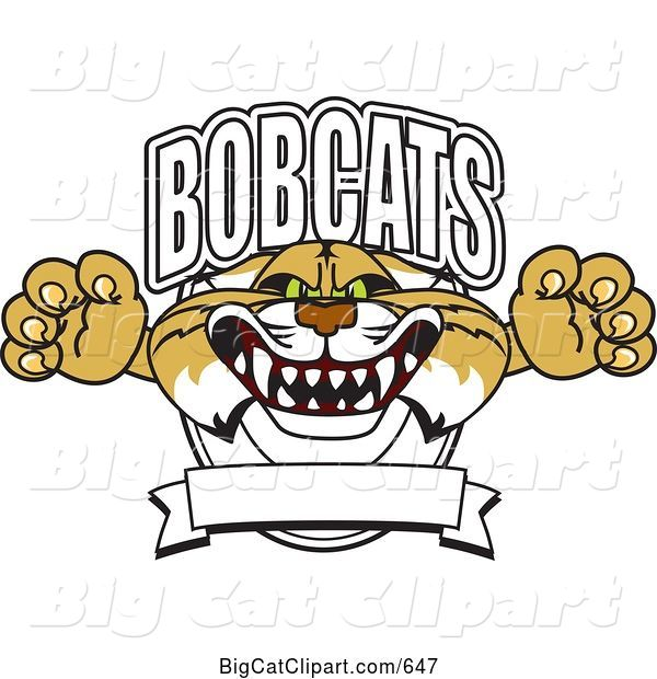 Vector Clipart of a Cartoon Bobcat Character School Logo with a Banner