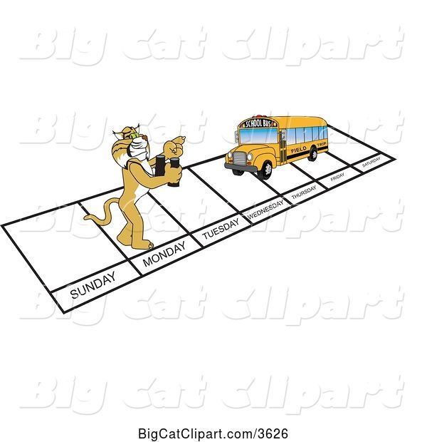 Vector Clipart of a Cartoon Bobcat School Mascot and Bus over Week Days, Symbolizing Being Proactive