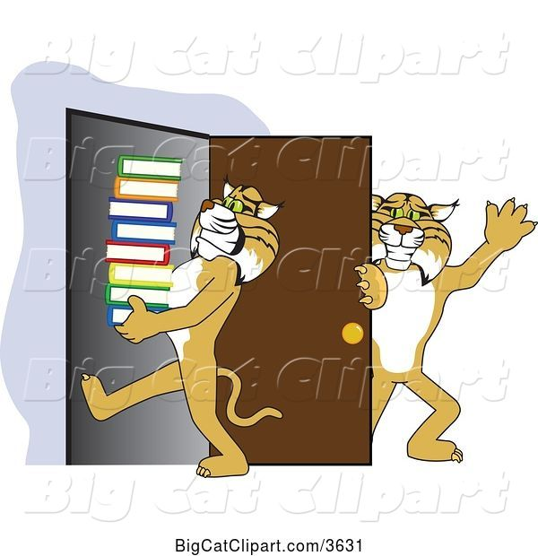 Vector Clipart of a Cartoon Bobcat School Mascot Holding a Door for Another Carrying Books, Symbolizing Compassion