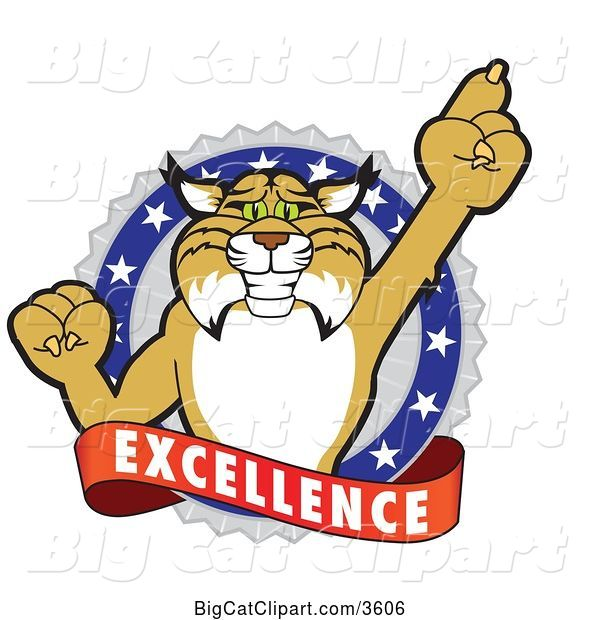 Vector Clipart of a Cartoon Bobcat School Mascot Holding up a Finger in an Excellence Badge