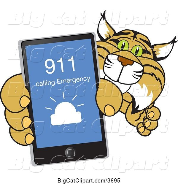 Vector Clipart of a Cartoon Bobcat School Mascot Holding up a Smart Phone with an Emergency Screen, Symbolizing Safety