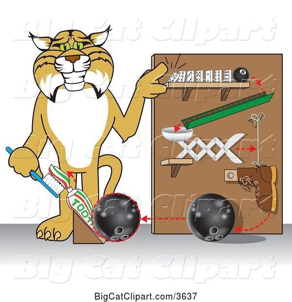 Vector Clipart of a Cartoon Bobcat School Mascot Showing a Toothpaste Dispenser Invention, Symbolizing Being Resourceful
