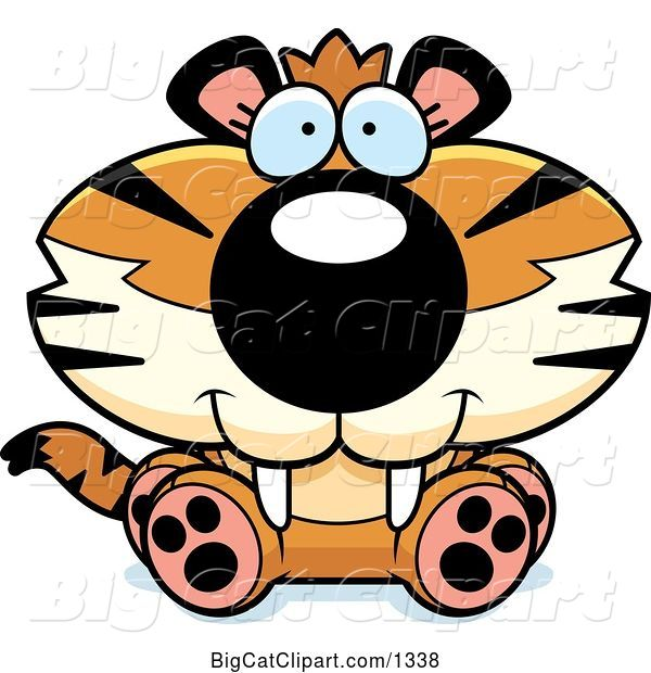 Vector Clipart of a Cute Cartoon Sitting Tiger Cub