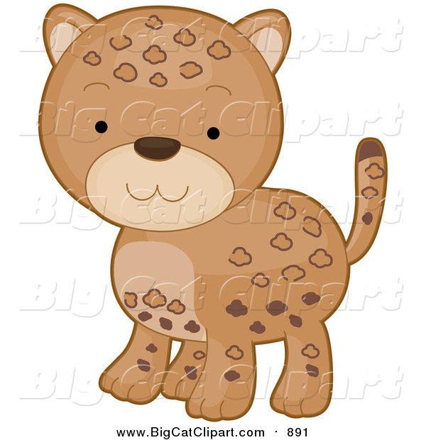 Vector Clipart of a Cute Cartooon Leopard Baby
