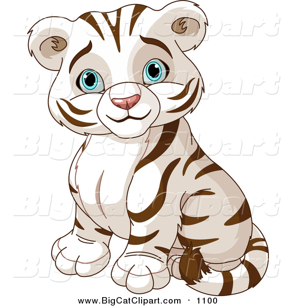 Vector Clipart of a Cute Cute Blue Eyed White Tiger Cub Sitting