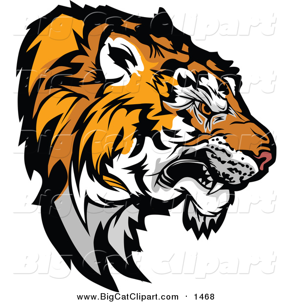 Vector Clipart of a Growling Tiger Prepared to Strike - Head Profile Version
