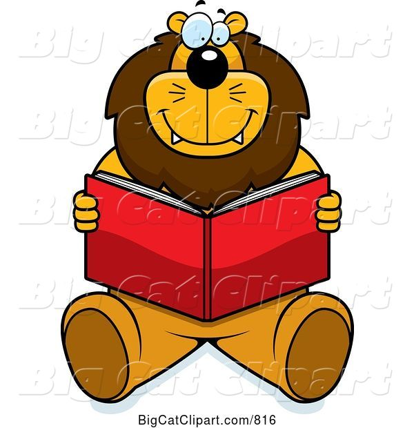 Vector Clipart of a Happy Cartoon Big Lion Sitting and Reading a Book