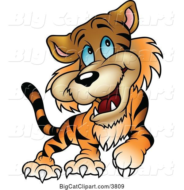 Vector Clipart of a Happy Cartoon Blue Eyed Tiger Walking