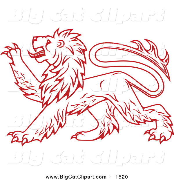 Vector Clipart of a Heraldic Lion Clawing Outwards with Paw - Red Outlined Version
