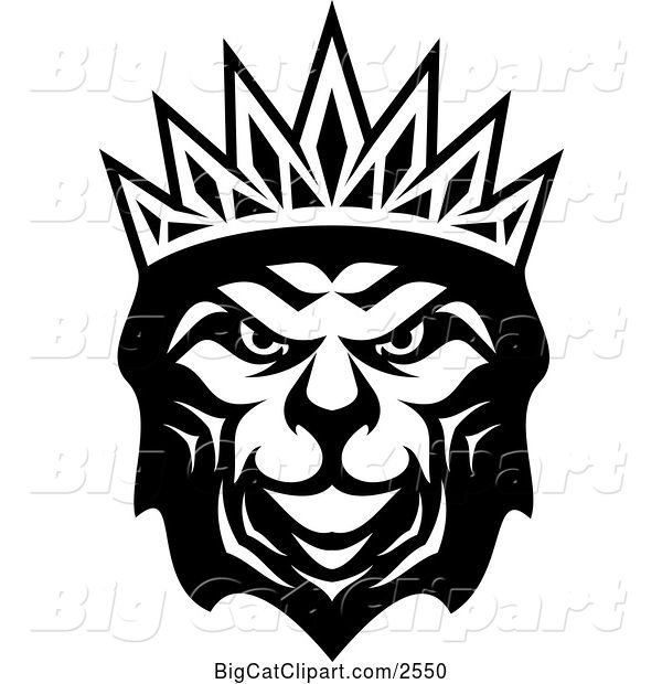 Vector Clipart of a Heraldic Lion with a Crown - Black and White V3