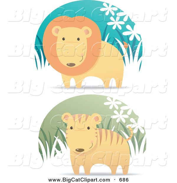Vector Clipart of a Lion and Cute Tiger in Grass