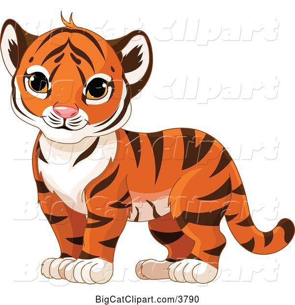 Vector Clipart of a Tiger Cub Standing