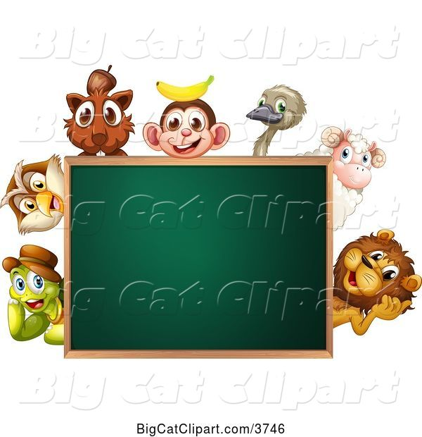 Vector Clipart of Animals Around a Blank Chalkboard