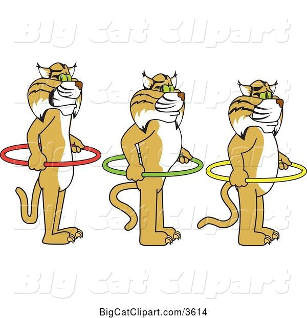 Vector Clipart of Cartoon Bobcat School Mascots Holding Hoops and Standing in Line, Symbolizing Respect of Personal Space