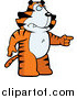 Big Cat Cartoon Vector Clipart of a Angry Tiger Standing and Pointing to the Right by Cory Thoman