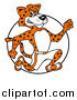 Big Cat Cartoon Vector Clipart of a Athletic Cheetah Running over a Circle by LaffToon