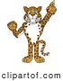Big Cat Cartoon Vector Clipart of a Big Cat Cheetah, Jaguar or Leopard Character School Mascot Pointing up by Toons4Biz