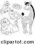 Big Cat Cartoon Vector Clipart of a Black and White Vulture, Bones, Tortoise, Lion and Giraffe by Visekart