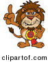 Big Cat Cartoon Vector Clipart of a Brown Lion Character Wearing a Best Dad Ever Ribbon by Dennis Holmes Designs