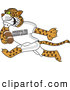 Big Cat Cartoon Vector Clipart of a Cheerful Cheetah Character School Mascot Playing Football by Toons4Biz