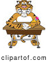 Big Cat Cartoon Vector Clipart of a Cheerful Tiger Character School Mascot Doing Homework at a Desk by Toons4Biz