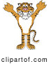 Big Cat Cartoon Vector Clipart of a Cheerful Tiger Character School Mascot Holding His Arms up by Toons4Biz