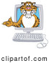 Big Cat Cartoon Vector Clipart of a Cheerful Tiger Character School Mascot in a Computer by Toons4Biz