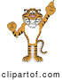 Big Cat Cartoon Vector Clipart of a Cheerful Tiger Character School Mascot Pointing up by Toons4Biz