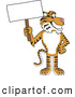 Big Cat Cartoon Vector Clipart of a Cheerful Tiger Character School Mascot with a Blank Sign by Toons4Biz