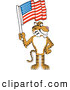 Big Cat Cartoon Vector Clipart of a Cheerful Tiger Character School Mascot with an American Flag by Toons4Biz
