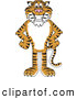 Big Cat Cartoon Vector Clipart of a Cheerful Tiger Character School Mascot with His Hands on His Hips by Toons4Biz