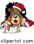 Big Cat Cartoon Vector Clipart of a Christmas Lion Laying on His Belly and Drawing by Dero