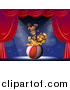 Big Cat Cartoon Vector Clipart of a Circus Lion and Beaver on Stage with a Ball by Graphics RF