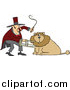 Big Cat Cartoon Vector Clipart of a Circus Lion Tamer Holding a Stool and Whip by Djart