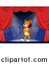 Big Cat Cartoon Vector Clipart of a Circus Tiger on a Stage by Graphics RF